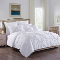 ROYAL COMFORT 7PCS PLEAT COMFORTER SET 150gsm Fill -QUEEN WHITE