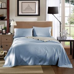 Kensington 1200TC Ultra Soft 100% Egyptian Cotton Sheet Set In Stripe-Mega King - Chambray (Blue)