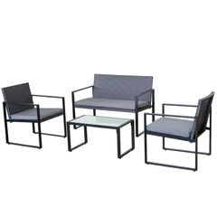 Milano Outdoor 4pc Steel Coffee Set - Graphite