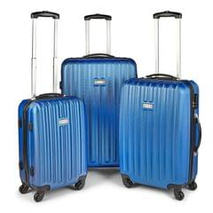 Milano Deluxe 3pc ABS Luggage Suitcase Luxury Hard Case Shockproof Travel Set - Blue