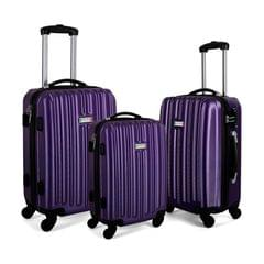 Milano Deluxe 3pc ABS Luggage Suitcase Luxury Hard Case Shockproof Travel Set - Purple
