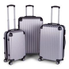 Milano Premium 3pc ABS Luggage Suitcase Luxury Hard Case Shockproof Travel Set - Silver