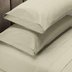 (KING)Renee Taylor 1500 Thread Count Pure Soft Cotton Blend Flat & Fitted Sheet Set - King - Ivory