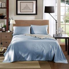 Kensington Luxury 1200TC 100% Cotton 3 Piece Sheet Set in Stripe Single - Blue