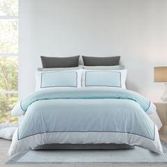 Renee Taylor 1000TC Quilt Cover Set Cotton Rich Soft Touch Ascot Hotel Grade - Queen - Blue Fog