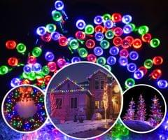 300 LED Solar Powered String Christmas Party Indoor Outdoor Lights - White/RGB - RGB