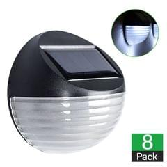 8 X Fence Lights Round Solar Powered LED Waterproof Outdoor Garden Wall Pathway
