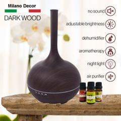 Milano Supreme Ultrasonic 400ml Aromatherapy Humidifier Diffuser LED with 3 Oils - Dark Wood
