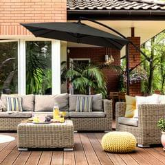 Milano 2.2M Outdoor Umbrella Cantilever Garden Deck Patio Shade Water-Resistant - Charcoal