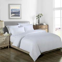 Royal Comfort Cooling Bamboo Blend Quilt Cover Set Striped 1000 Thread Count - King - White
