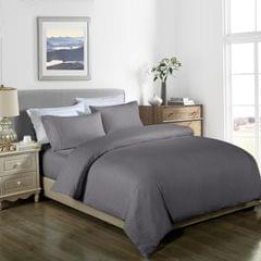 Royal Comfort Cooling Bamboo Blend Quilt Cover Set Striped 1000 Thread Count - Queen - Charcoal