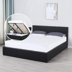 Milano Luxury Gas Lift Bed Frame And Headboard - Queen - Black
