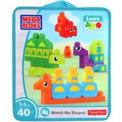 Mega Bloks Match My Shapes, 40 Pieces Bag Multi Color