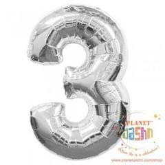 Planet Jashn Number 3 Foil Balloon , Silver Color