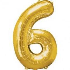 Planet Jashn Number 6 Foil Balloon , Golden Color
