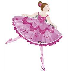 Planet Jashn Pink Sparkle Ballerina Supershape Foil Balloon , Multi Color