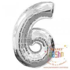 Planet Jashn Number 6 Silver Supershape Foil Balloon, Multi Color
