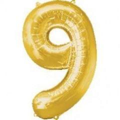 Planet Jashn Number 6 Gold Supershape Foil Balloon, Multi Color
