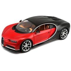 Bburago 2016 Bugati Chiron Black & Red Color, 1:18 Scale Die Cast Metal Collectable Model
