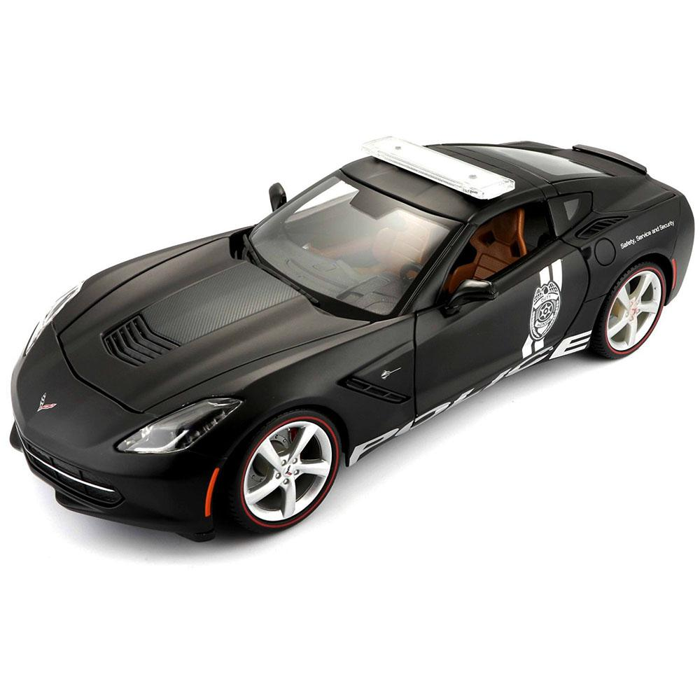 Maisto 2014 Corvette Stingray Police Black Color, 1:18 Scale Die Cast Metal Collectable Model Car