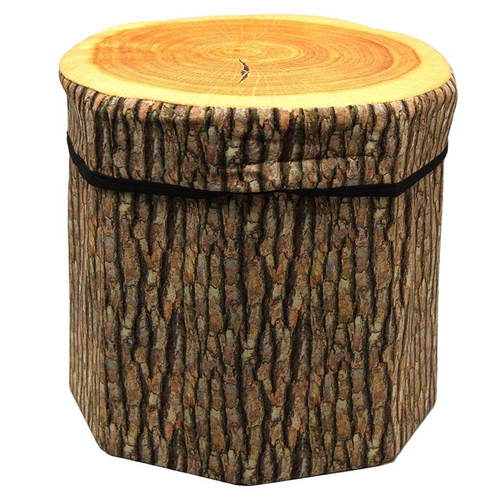 Dimpy Stuff Foldable Kids Stool with Soft Seat - Wood Log Theme