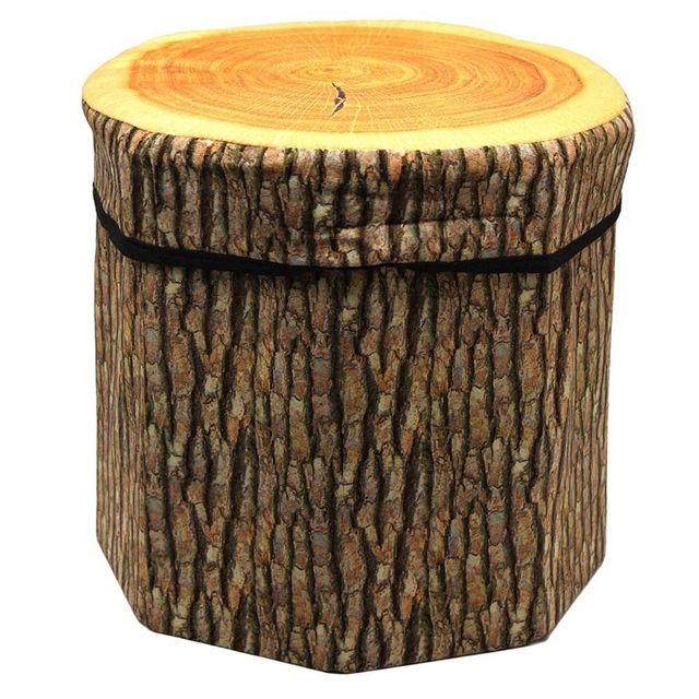 Dimpy Stuff Foldable Kids Stool with Soft Seat - Wood Log Theme