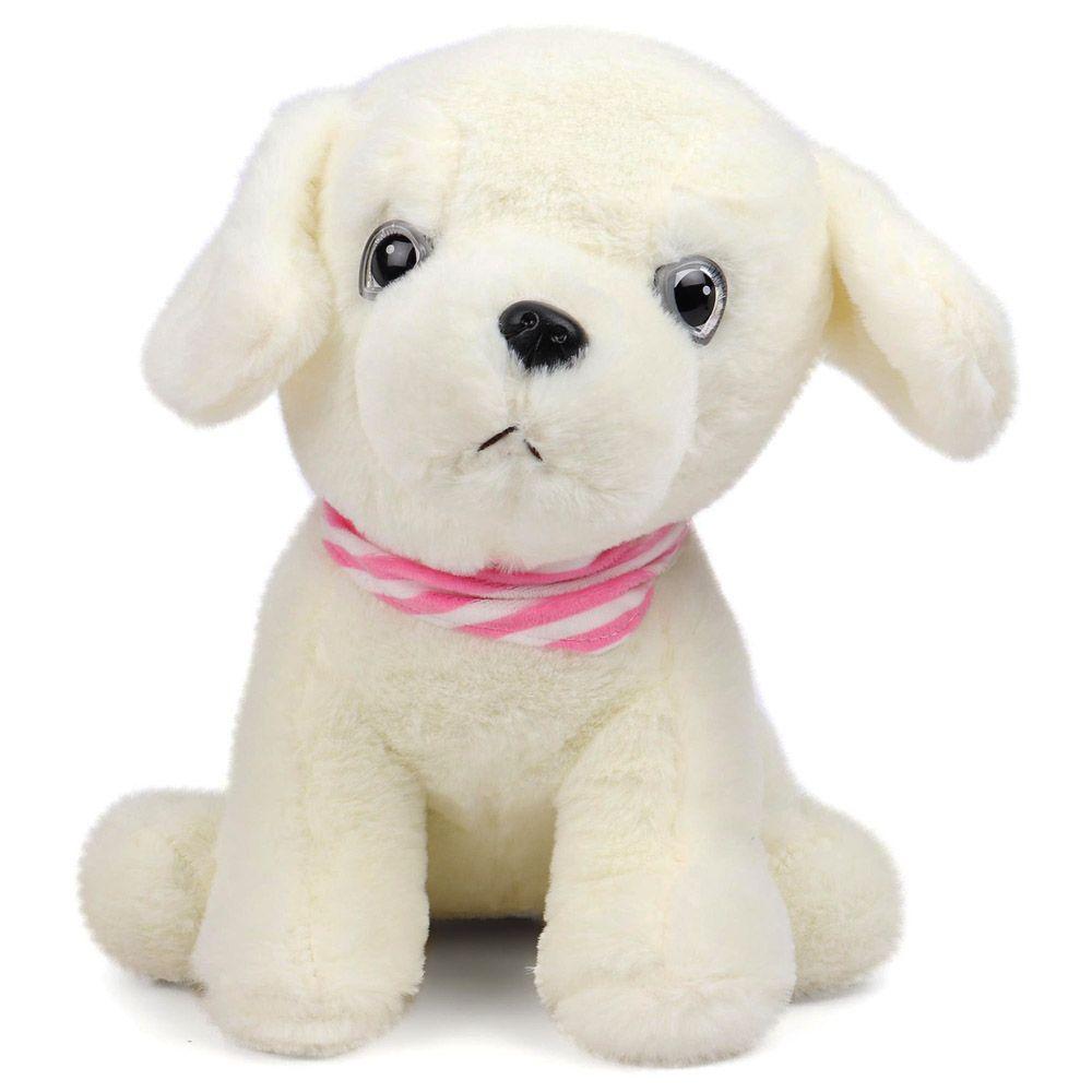 Dimpy Stuff Premium Dog with Muffler Stuff Toy White Color