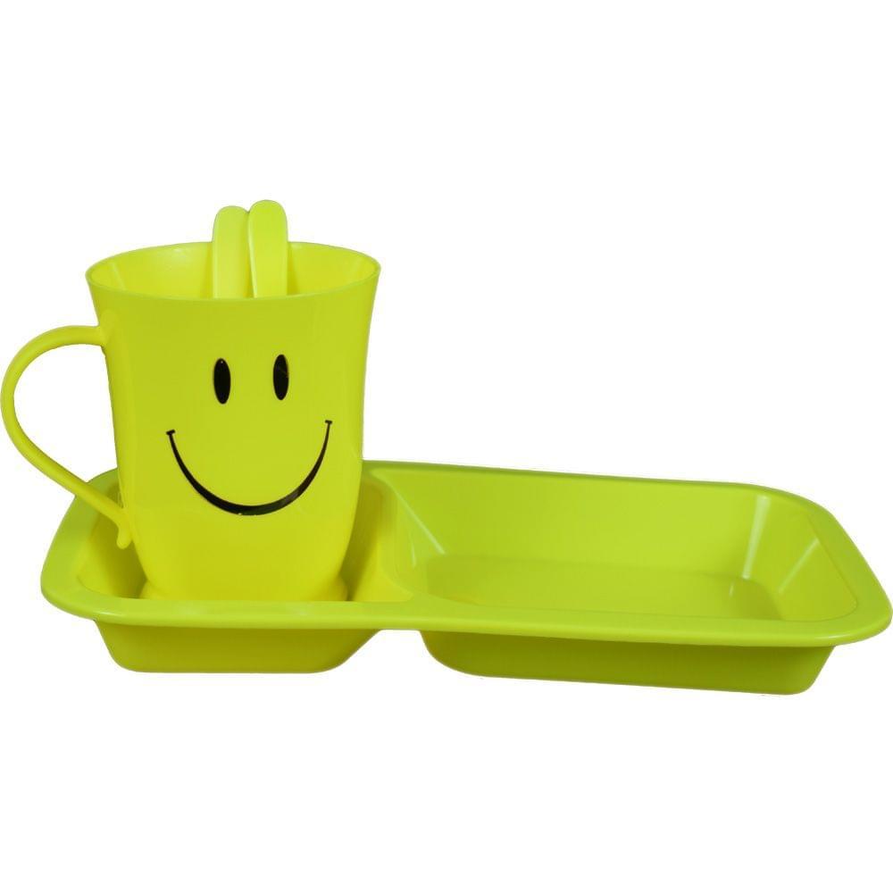 Myesha Home 4 Piece Charlie Plastic Mug & Plate Cutlery Gift Set Yellow Color