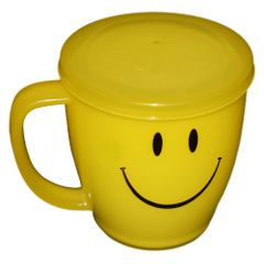 Myesha Home Big Smiley Cup with Cap Yellow Color