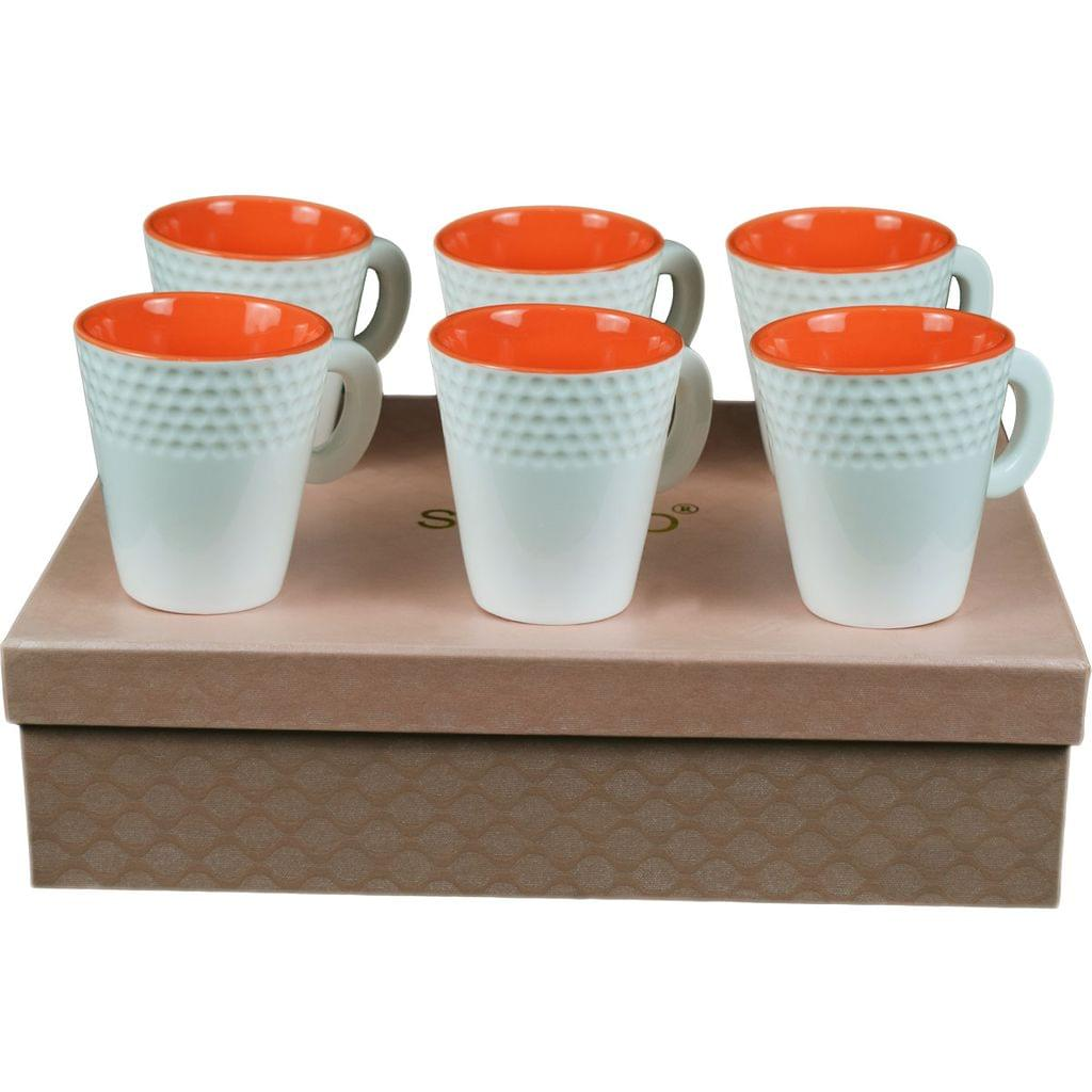 Soogo Luxury Collection Tea and Coffee Cup Exquisite set of 6 White and Orange Color Design 2