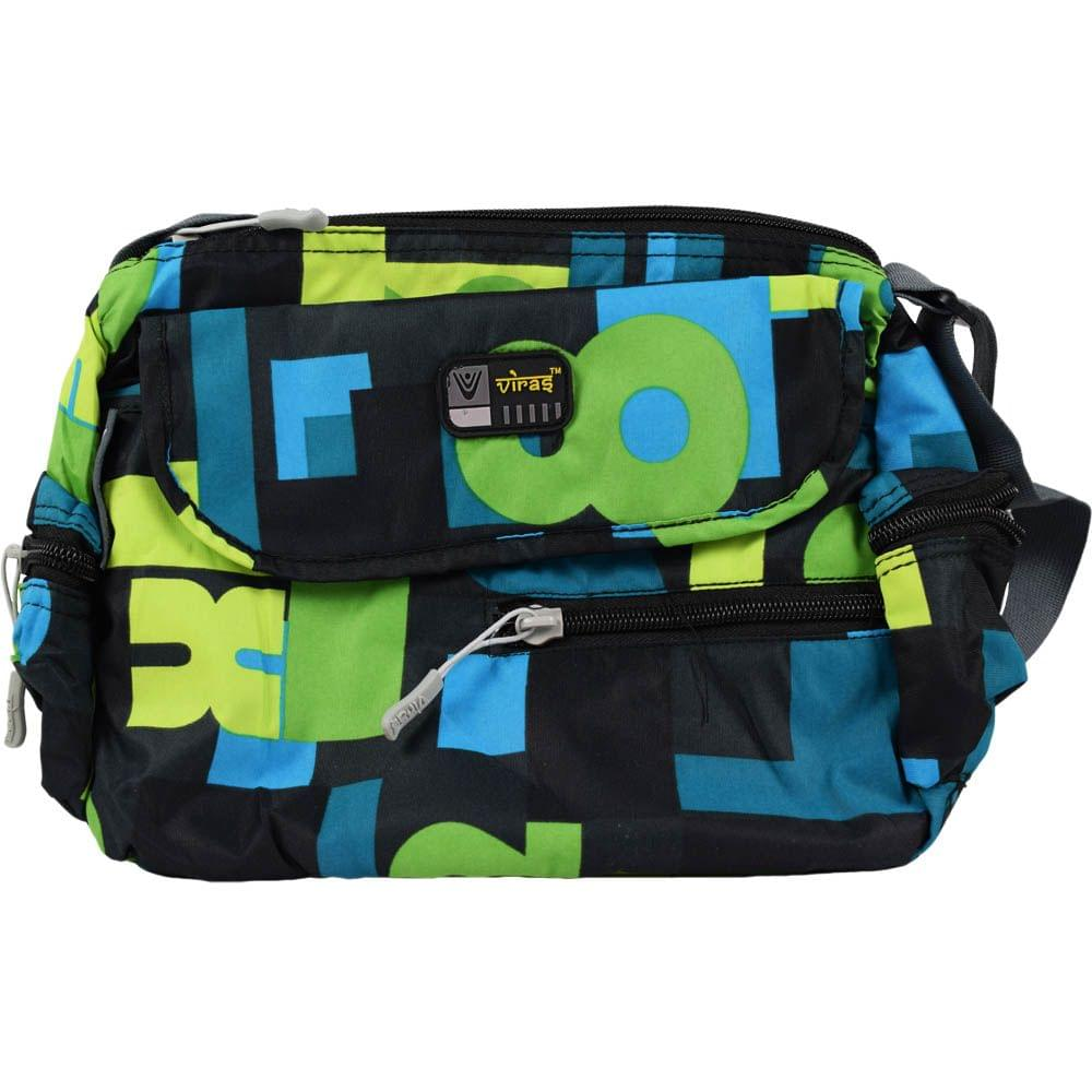 Viraz Teflon Coated Waterproof Sling Bag, Green & Blue