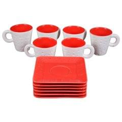 Soogo Luxury Collection Tea and Coffee Cup Exquisite set of 6 White and Red Color With Rectangle Saucer Design 1