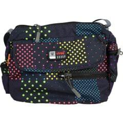 Viraz Teflon Coated Waterproof Sling Bag, Black with multi color pattern