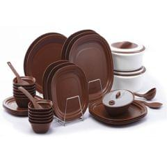 Varmora 36 Pcs Microwave Safe Dinner Set, Brown