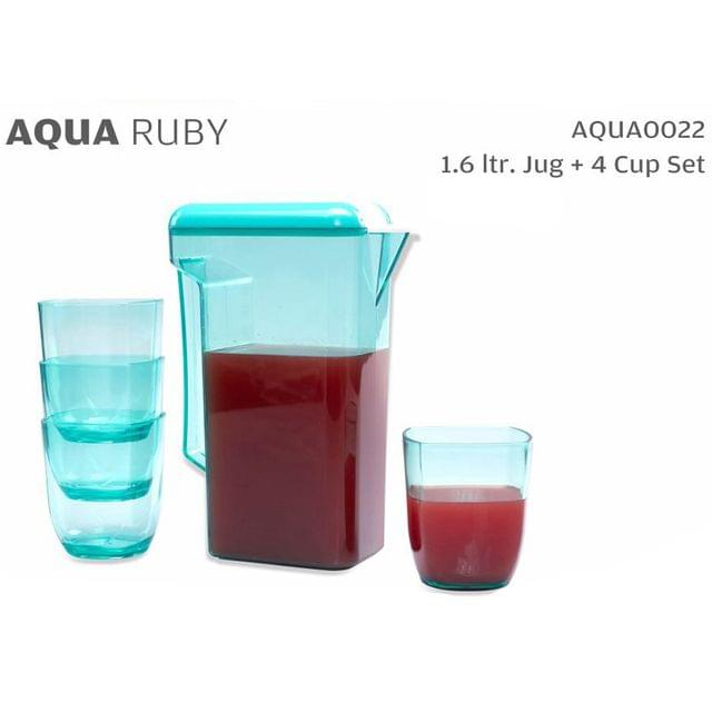 Varmora Aqua Ruby Water Jug with Glasses