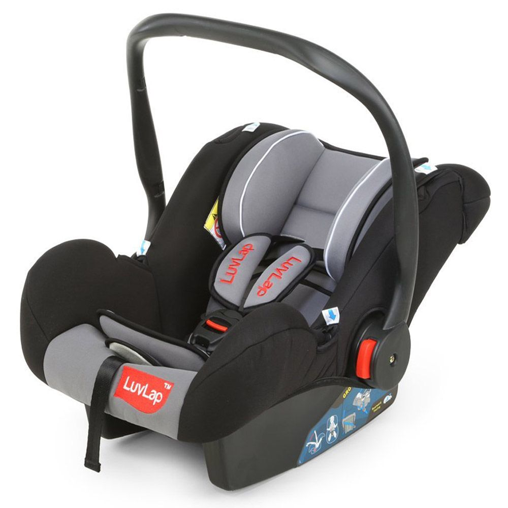 LuvLap Infant Baby Car Seat Cum Carry Cot and Rocker, Black Color