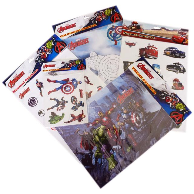 Topps Marvel Heroes Avengers Disney Cars Stickers Theme Collections, Combo Pack of 8 Big Stickers and 10 Small Stickers