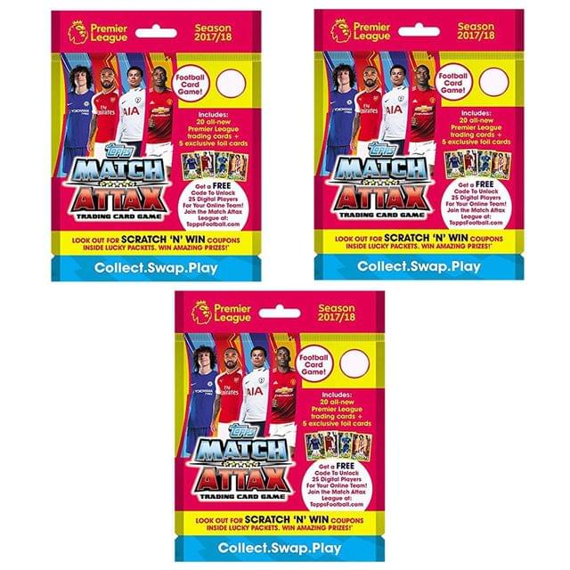 Topps Match Attax -PLMA 17-18 TCG Collection, Pack of 3
