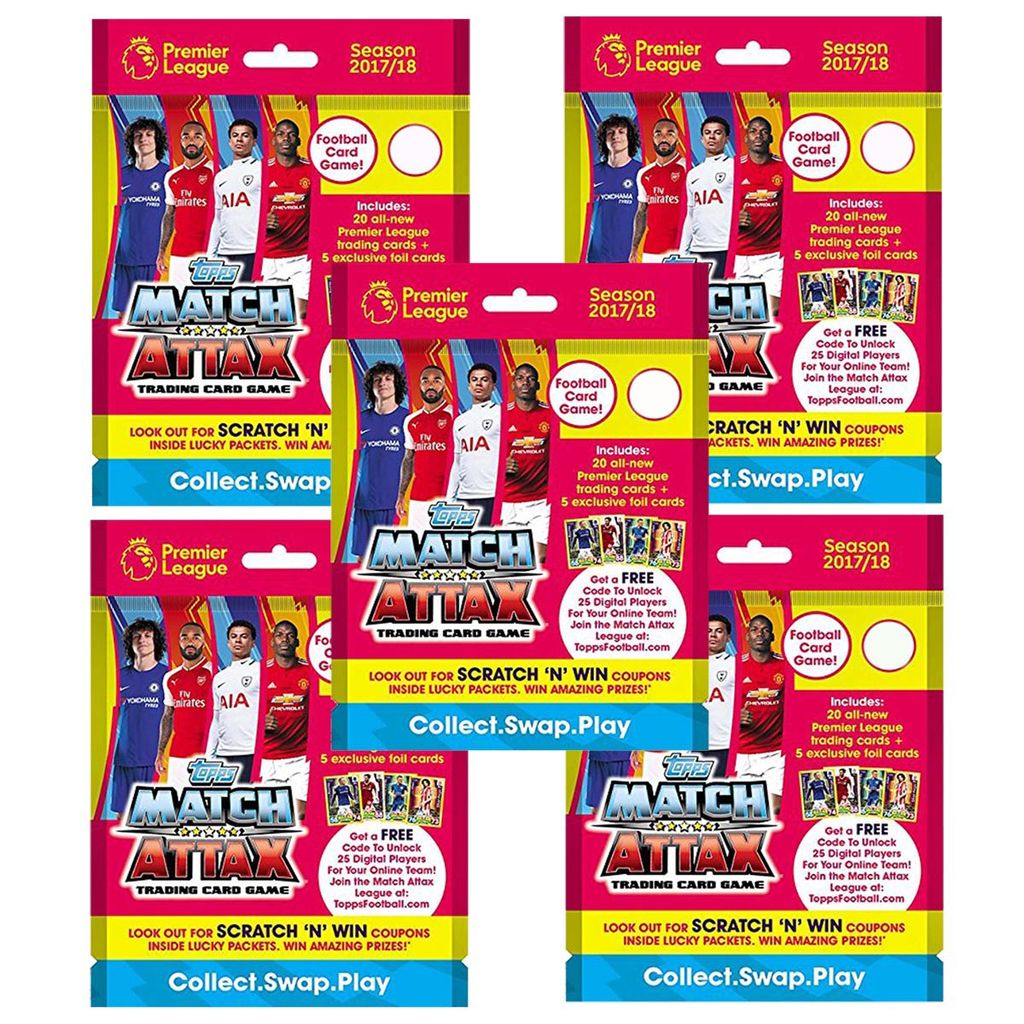 Topps Match Attax -PLMA 17-18 TCG Collection, Pack of 5