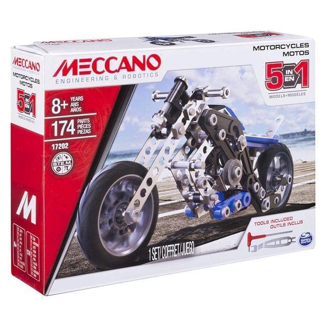 Meccano 5 In 1 Model Motorcycle Set, Multi Color