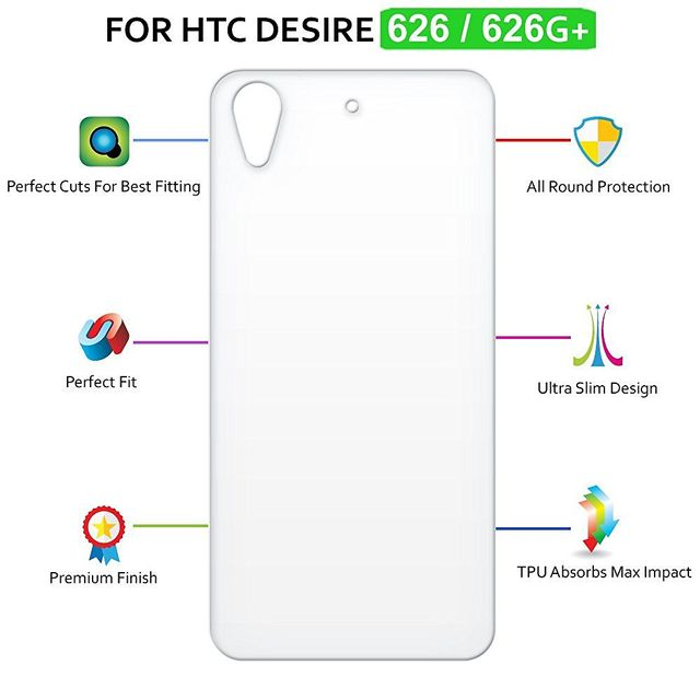 HTC Desire 626G Ultra Clear Soft Silicone Flexible Transparent Back Cover