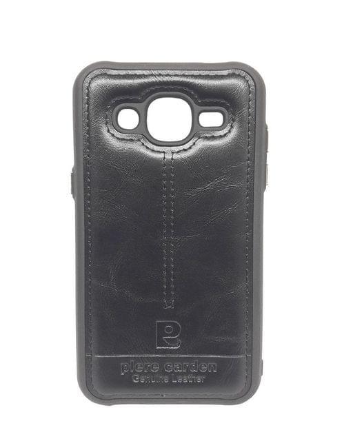 Samsung-J2 Pierre Carden Luxury Back Lather Case  (Black)