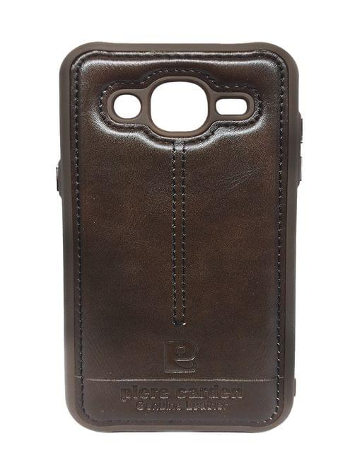 Samsung-J7 Piere Carden Luxury Back Lather Case ( Dark Brown)