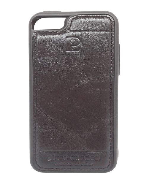 Iphone 5 & 5S& SE Pierre Cardin Luxury Back Lather Case (Brown)