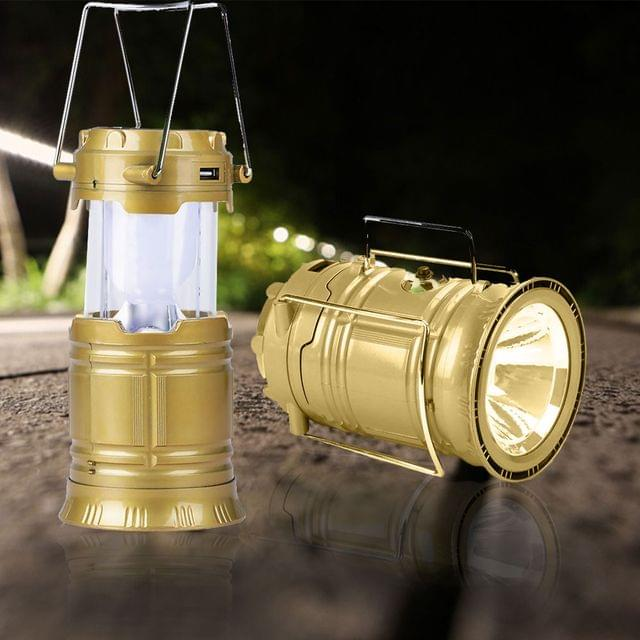 6 LED Solar Power Camping Lantern Light Rechargable Collapsible Night Light Waterproof Outdoor Super Bright Hiking Flashlight-Brown, (COLOUR MAY VARY)