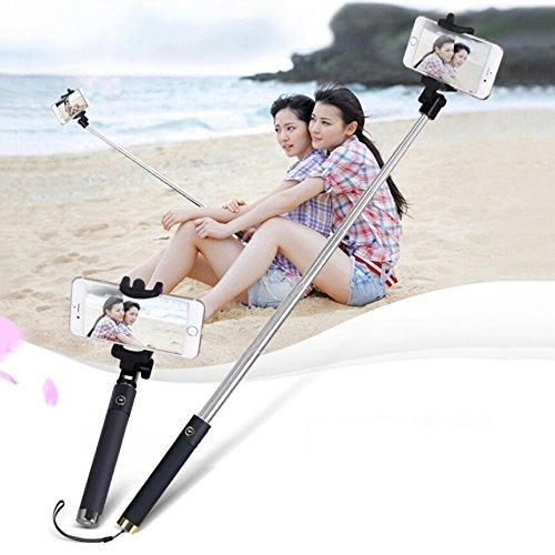 Compact Pocket Size Selfie Stick Wired for iPhone and Android Locust Aux Cable Monopod Premium Series-(COLOUR MAY VARY)