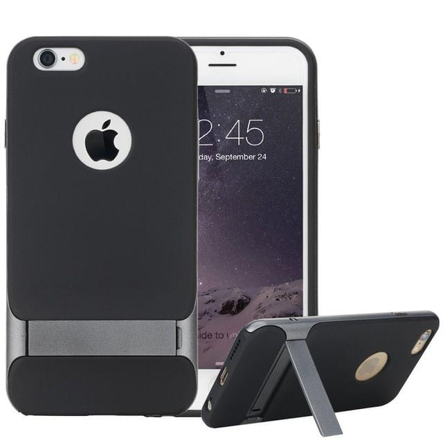 Apple iPhone 6 / 6S ROCK Royce Kick Stand Cover Back Case Cover with Stand (Black/Grey)