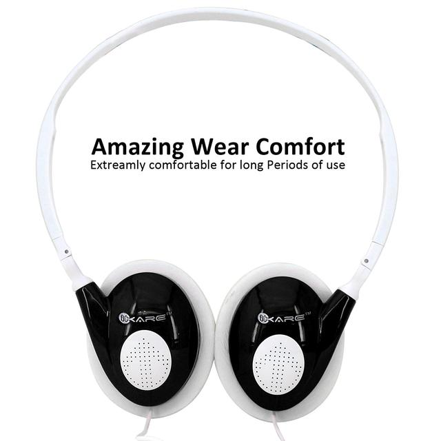 iKare Foldable Over Ear Easy Comfort Hi Fi Stereo Headphone Wired Stereo Microphone Headset-(Black)
