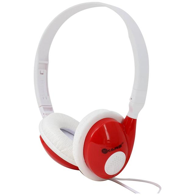 iKare Foldable Over Ear Easy Comfort Hi Fi Stereo Headphone Wired Stereo Microphone Headset-(RED)