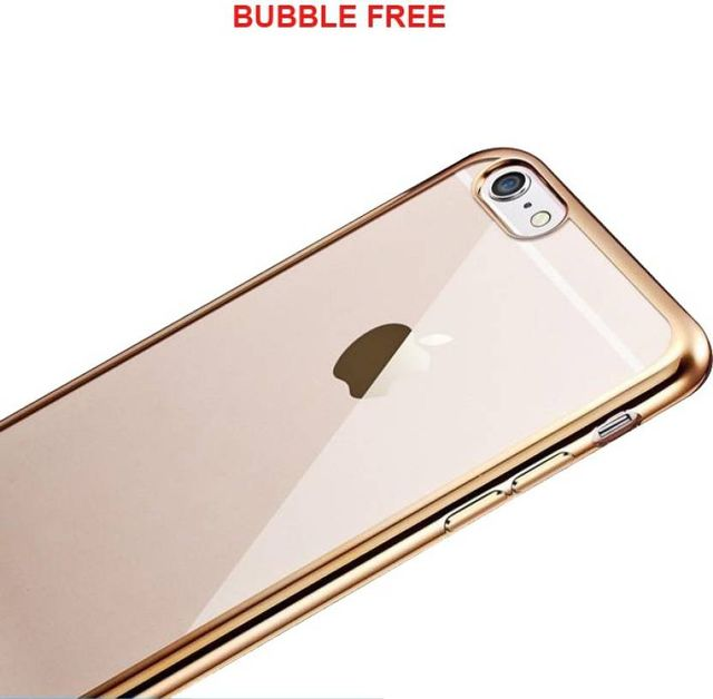 Apple iPhone 6 Silicone Transparent Back Cover with Golden Border